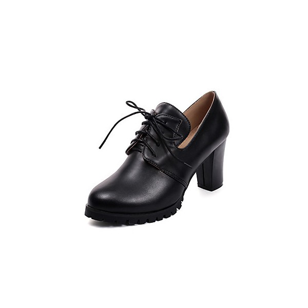 Black Lace up Oxford Heels Round Toe Chunky Heel Vintage Shoes image 9