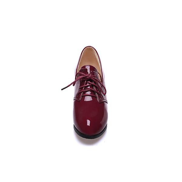 Burgundy Patent Leather Oxford Heels Lace up Block Heel Vintage Shoes image 4