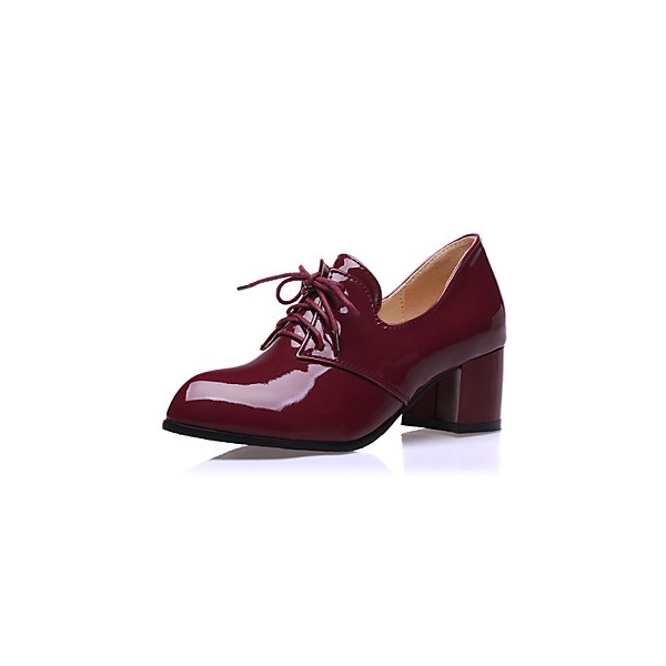Burgundy Patent Leather Oxford Heels Lace up Block Heel Vintage Shoes image 1
