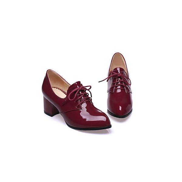 Burgundy Patent Leather Oxford Heels Lace up Block Heel Vintage Shoes image 3