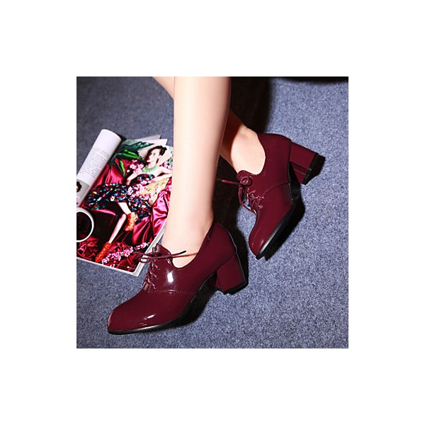 Burgundy Patent Leather Oxford Heels Lace up Block Heel Vintage Shoes image 5