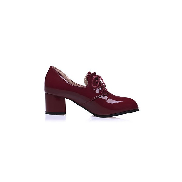 Burgundy Patent Leather Oxford Heels Lace up Block Heel Vintage Shoes image 2