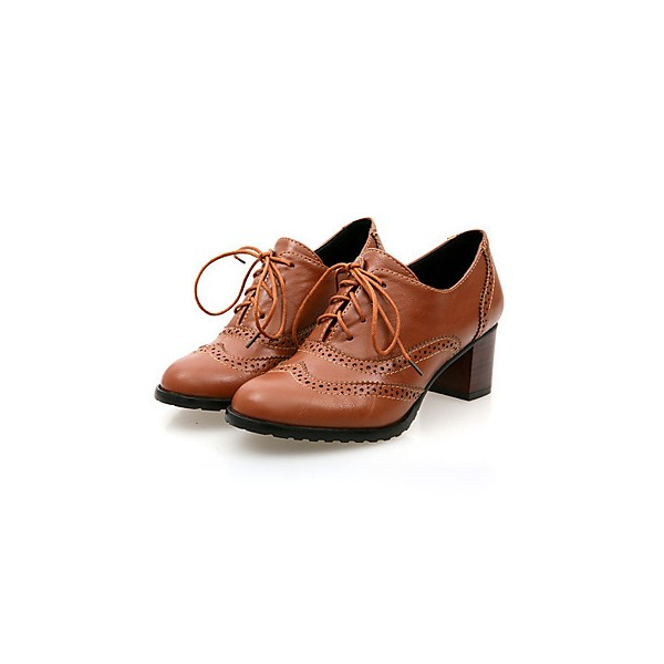 Tan Women's Oxfords Vintage Lace up Heeled Oxfords US Size 3-15 image 1