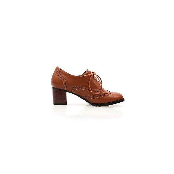 Tan Women's Oxfords Vintage Lace up Heeled Oxfords US Size 3-15 image 4