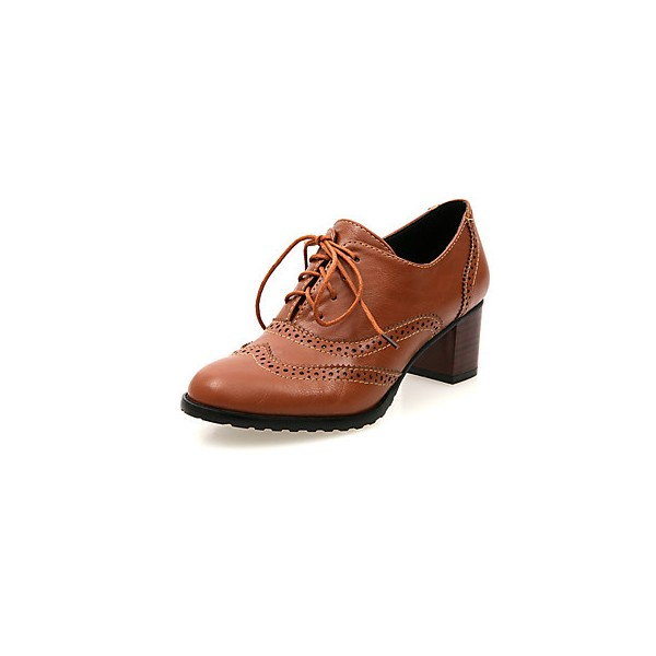 Tan Women's Oxfords Vintage Lace up Heeled Oxfords US Size 3-15 image 5