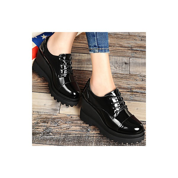 Women's Black Patent Leather Wedge Heel Women's Brogues Vintage Shoes image 3