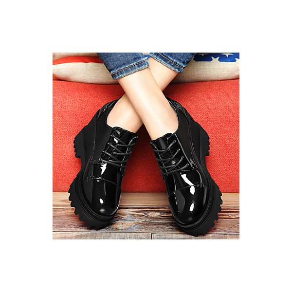 Women's Black Patent Leather Wedge Heel Women's Brogues Vintage Shoes image 2