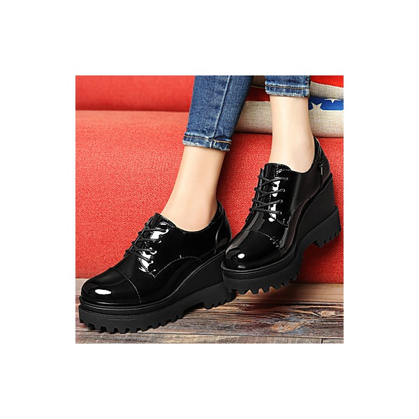 Women's Black Patent Leather Wedge Heel Women's Brogues Vintage Shoes image 4