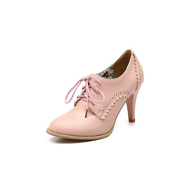 Pink Oxford Heels Lace up Round Toe Vintage Shoes US Size 3-15 image 7