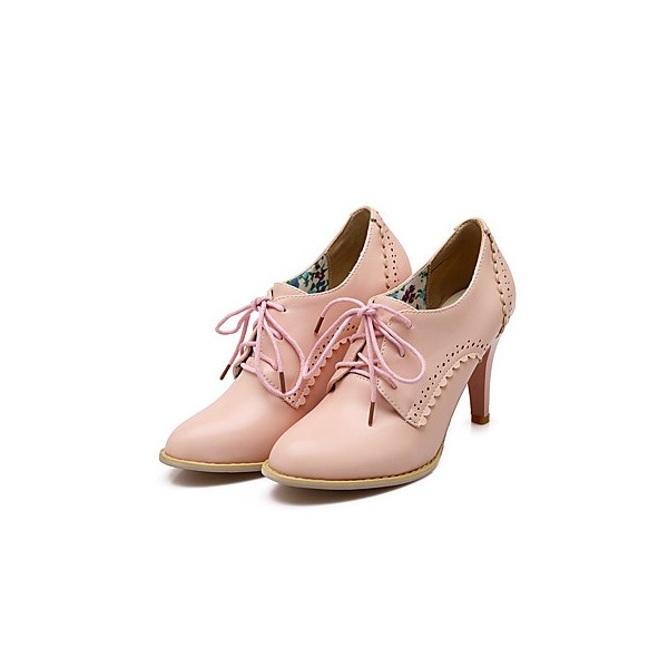 Ladies' Pink Vintage Heels Brogues for Work, School, Date | FSJ