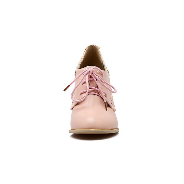 Pink Oxford Heels Lace up Round Toe Vintage Shoes US Size 3-15 image 3