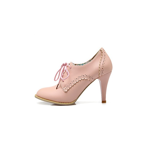 Pink Oxford Heels Lace up Round Toe Vintage Shoes US Size 3-15 image 2