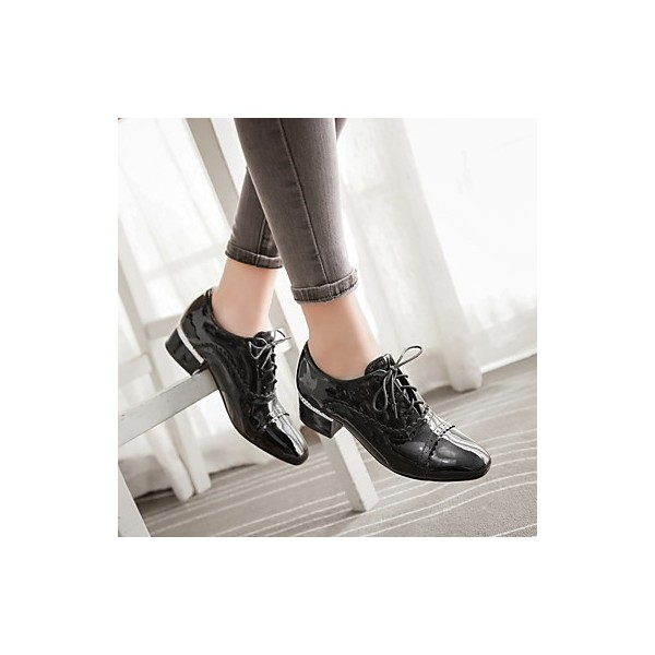 Women's Brogues Black Lace Up Chunky Heel Vintage Shoes  image 3