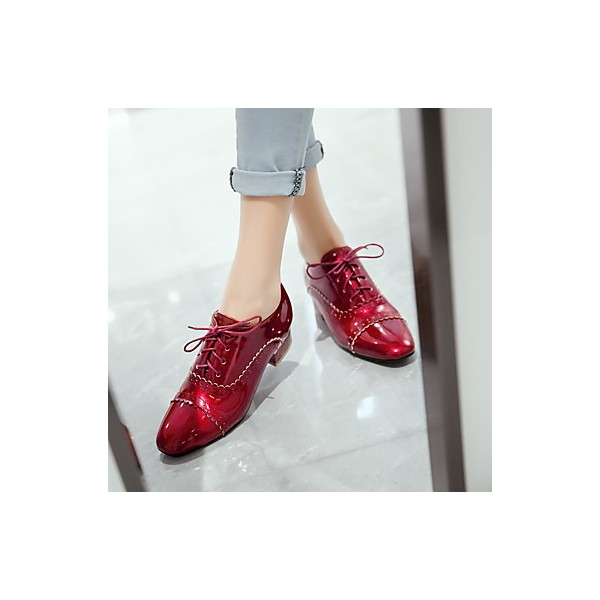 Women's Burgundy Cute Vintage Shoes Women's Brogues image 4
