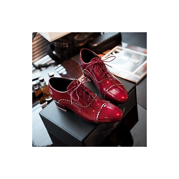 Women's Burgundy Cute Vintage Shoes Women's Brogues image 3