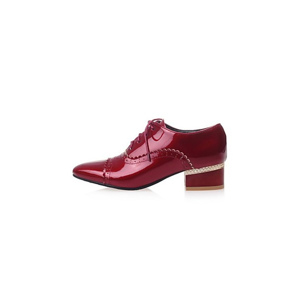 Women's Burgundy Cute Vintage Shoes Women's Brogues image 7