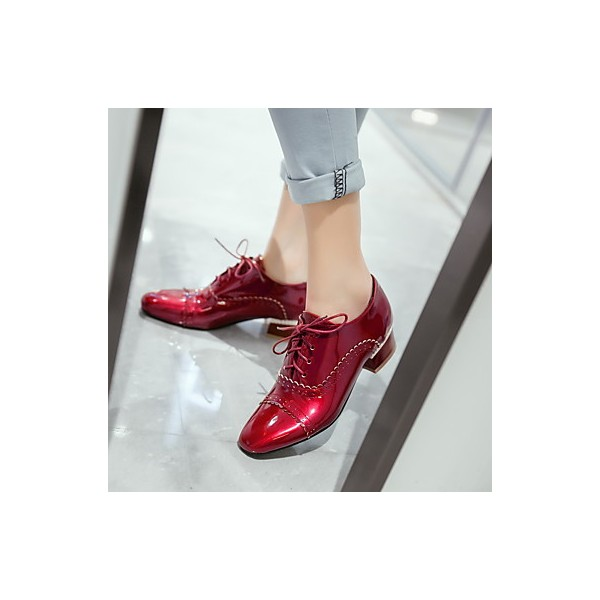 Women's Burgundy Cute Vintage Shoes Women's Brogues image 5