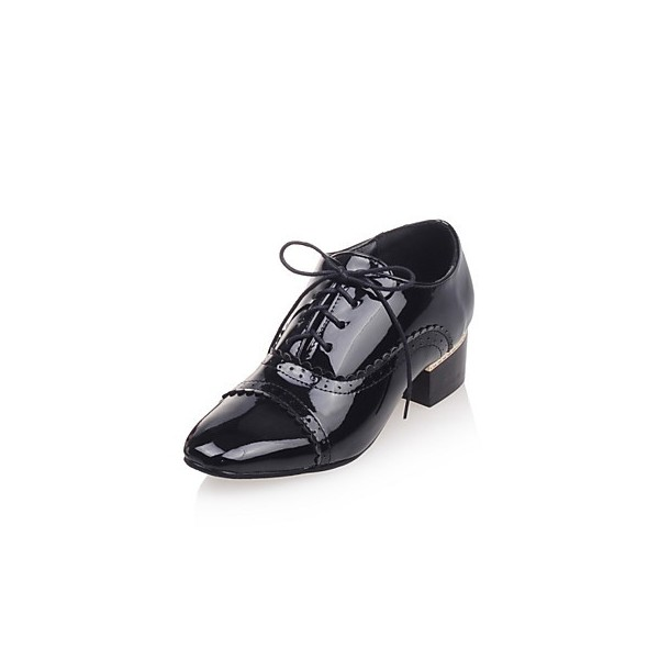 Women's Brogues Black Lace Up Chunky Heel Vintage Shoes  image 1