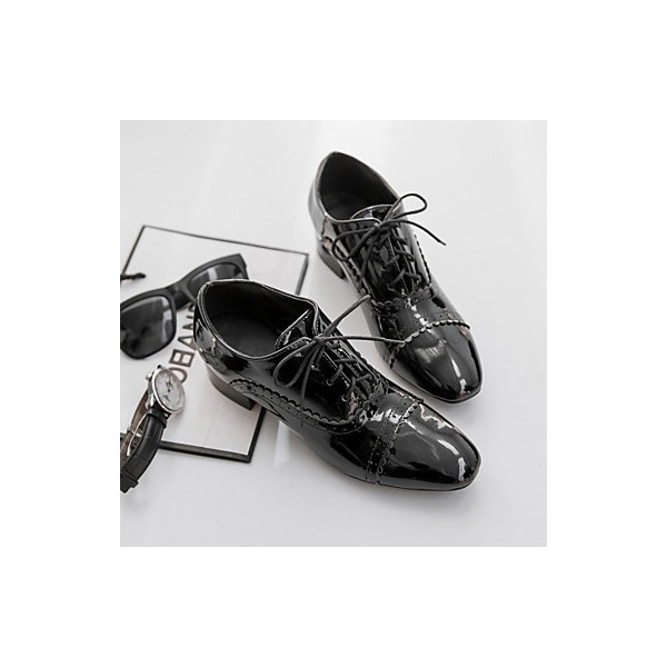 Women's Brogues Black Lace Up Chunky Heel Vintage Shoes  image 4