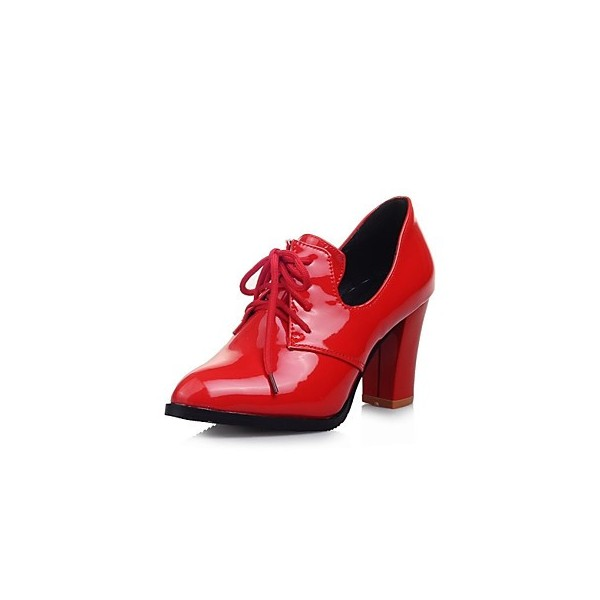 Red Patent Leather Oxford Heels Lace up Chunky Heel Vintage Shoes image 1