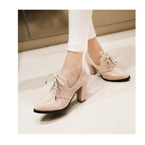 Nude Patent Leather Oxford Heels Lace up Chunky Heel Vintage Shoes image 2