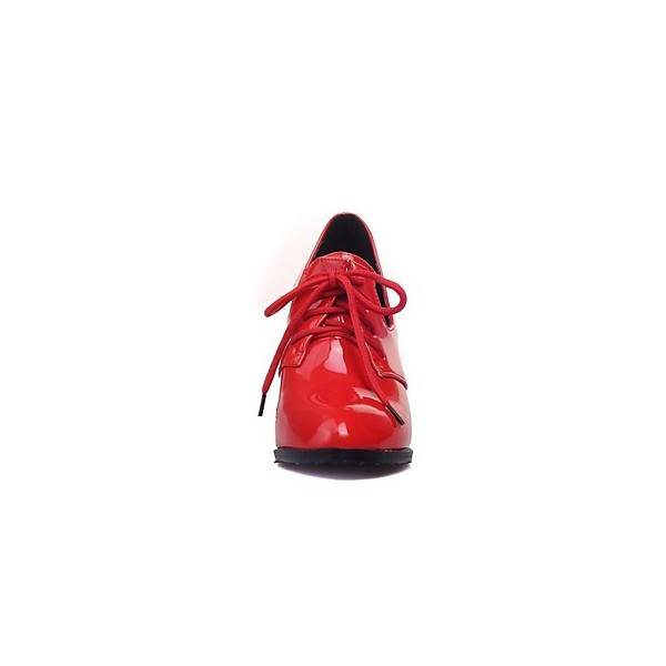 Red Patent Leather Oxford Heels Lace up Chunky Heel Vintage Shoes image 4