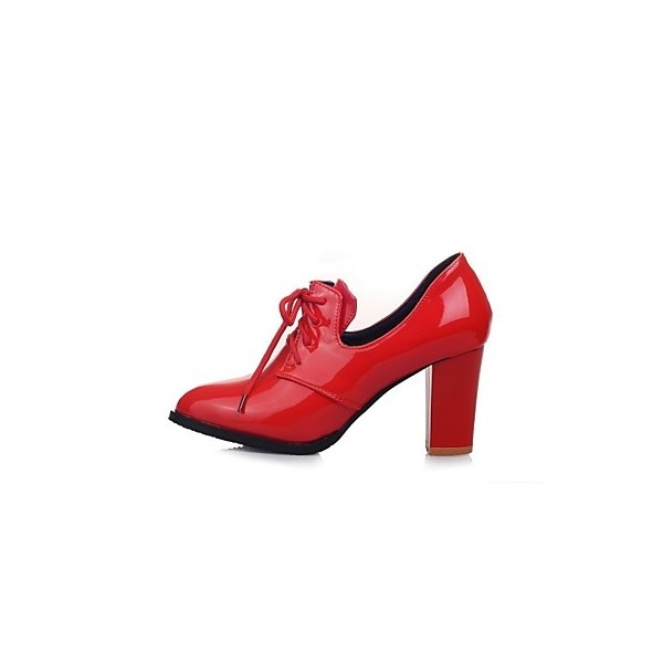 Red Patent Leather Oxford Heels Lace up Chunky Heel Vintage Shoes image 3