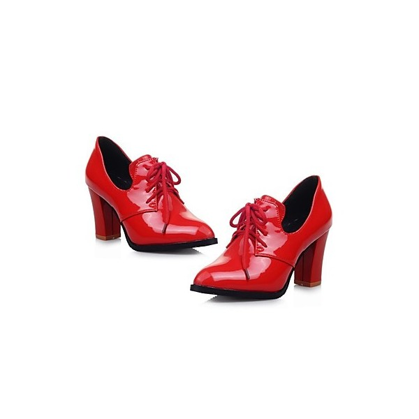 Red Patent Leather Oxford Heels Lace up Chunky Heel Vintage Shoes image 5
