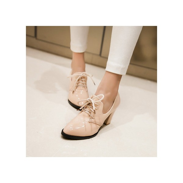 Nude Patent Leather Oxford Heels Lace up Chunky Heel Vintage Shoes image 1