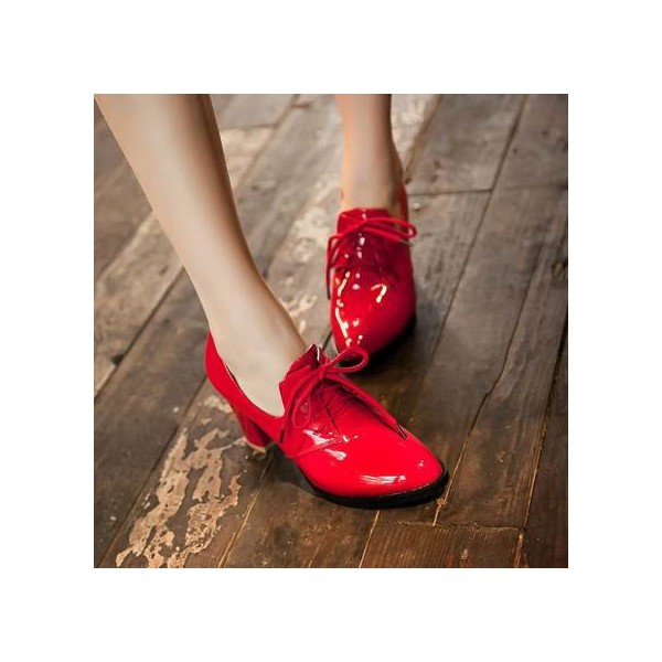 Red Patent Leather Oxford Heels Lace up Chunky Heel Vintage Shoes image 6
