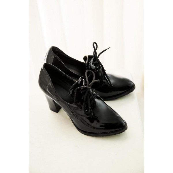 Black Patent Leather Oxford Heels Lace up Chunky Heel Vintage Shoes image 5