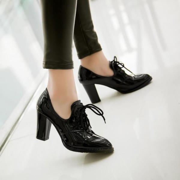 Black Patent Leather Oxford Heels Lace up Chunky Heel Vintage Shoes image 6