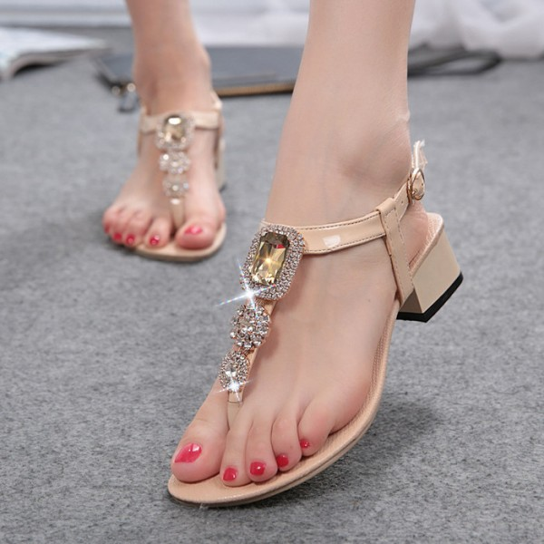 Nude T Strap Jeweled Sandals Rhinestone Chunky Heels Slingback Sandals image 1