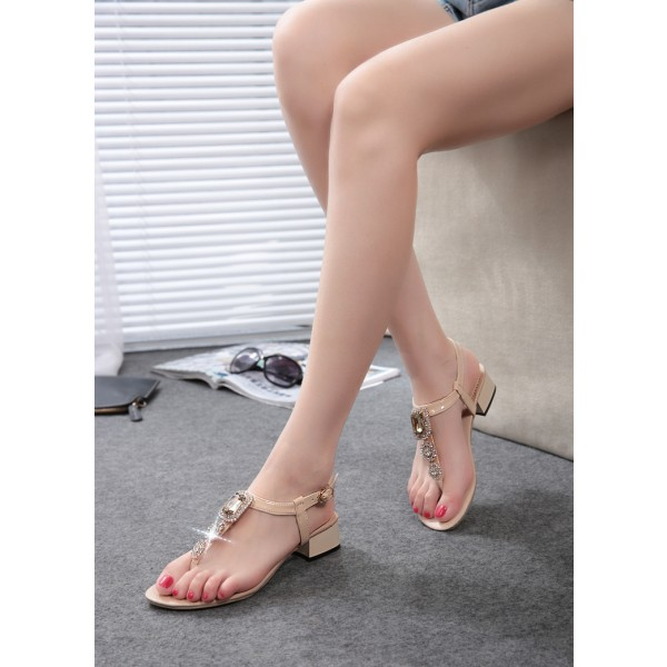 Nude T Strap Jeweled Sandals Rhinestone Chunky Heels Slingback Sandals image 2
