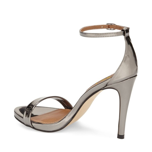 Silver Ankle Strap Sandals Open Toe Patent Leather Stiletto Heels image 2