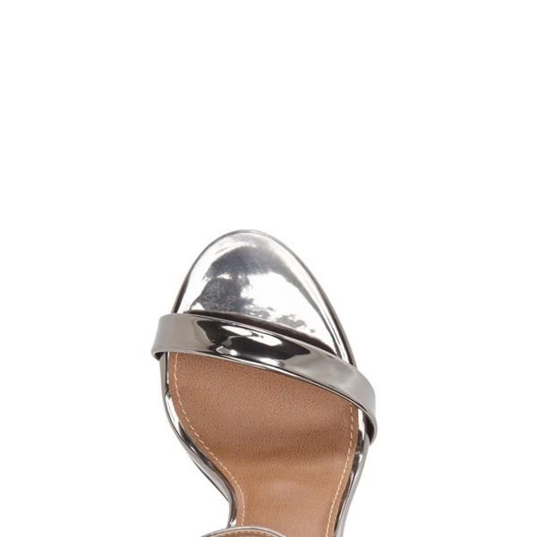Silver Ankle Strap Sandals Open Toe Patent Leather Stiletto Heels image 3