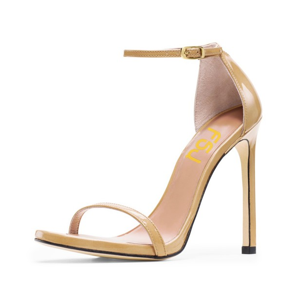 Women's Khaki Ankle Strap Heels Open Toe Stiletto Evening Sandals image 1