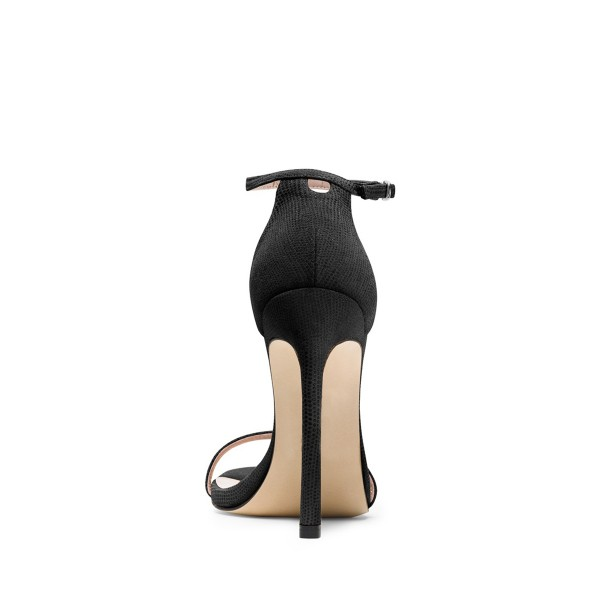 Black Ankle Strap Sandals Suede 5 Inch Stiletto Heels Shoes image 2
