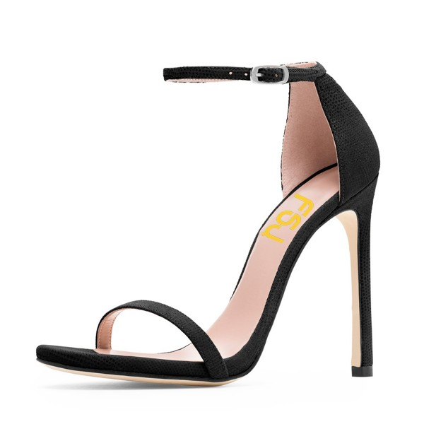Black Ankle Strap Sandals Suede 5 Inch Stiletto Heels Shoes image 1