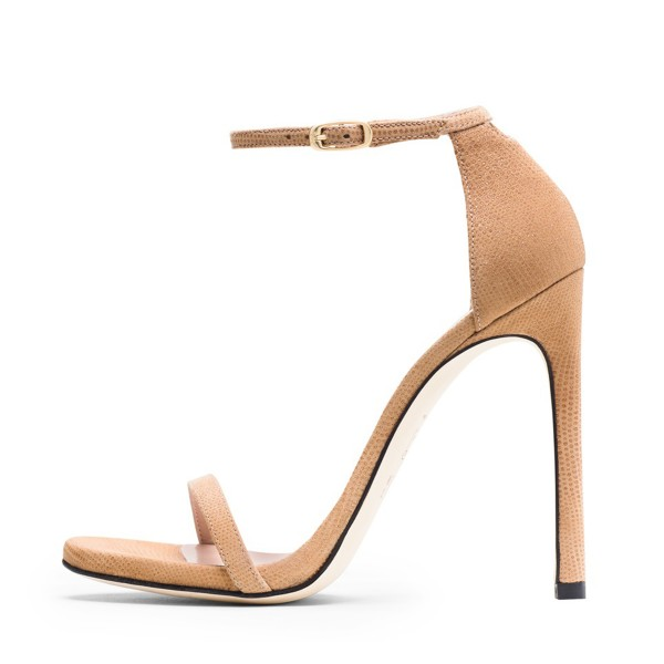 Nude Ankle Strap Sandals Open Toe Stiletto Heel Vegan Office Sandals image 2