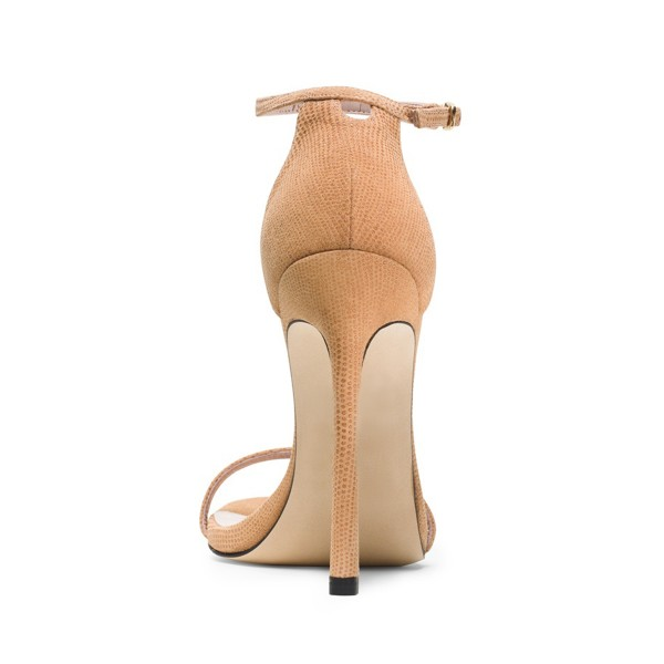 Nude Ankle Strap Sandals Open Toe Stiletto Heel Vegan Office Sandals image 3