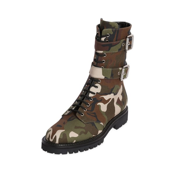 Combat Boots Camouflage Lace up Round Toe Mid-calf Boots image 1