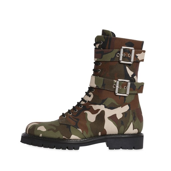 Combat Boots Camouflage Lace up Round Toe Mid-calf Boots image 3