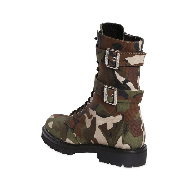Combat Boots Camouflage Lace up Round Toe Mid-calf Boots image 2