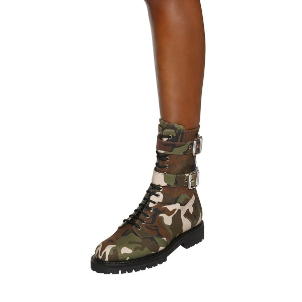 Combat Boots Camouflage Lace up Round Toe Mid-calf Boots image 4