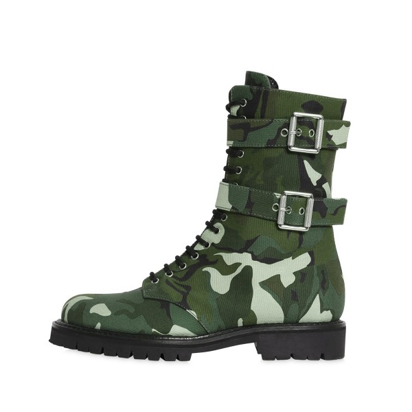 Camouflage Combat Boots Round Toe Lace up Mid-calf Boots image 2