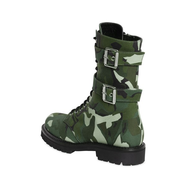 Camouflage Combat Boots Round Toe Lace up Mid-calf Boots image 3