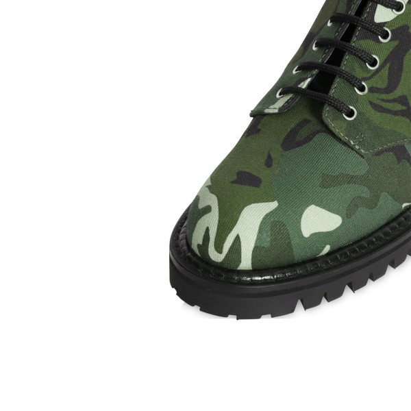 Camouflage Combat Boots Round Toe Lace up Mid-calf Boots image 4