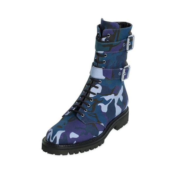 Camouflage Combat Boots Lace up Round Toe Mid-calf Boots image 1
