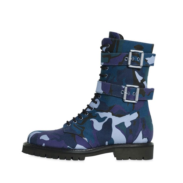 Camouflage Combat Boots Lace up Round Toe Mid-calf Boots image 3
